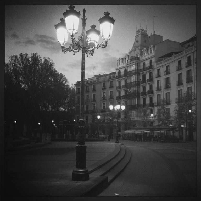 dusk lighting of the streets in madrid