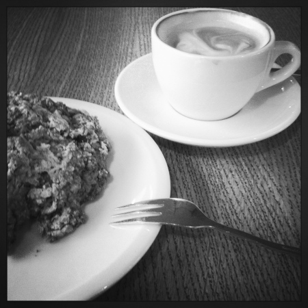 Scones and cappuccino from breakfast