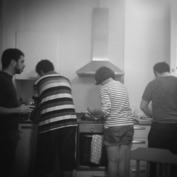 In the kitchen with friends