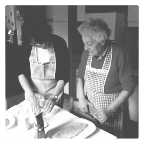 Cooking with mother and grandmother